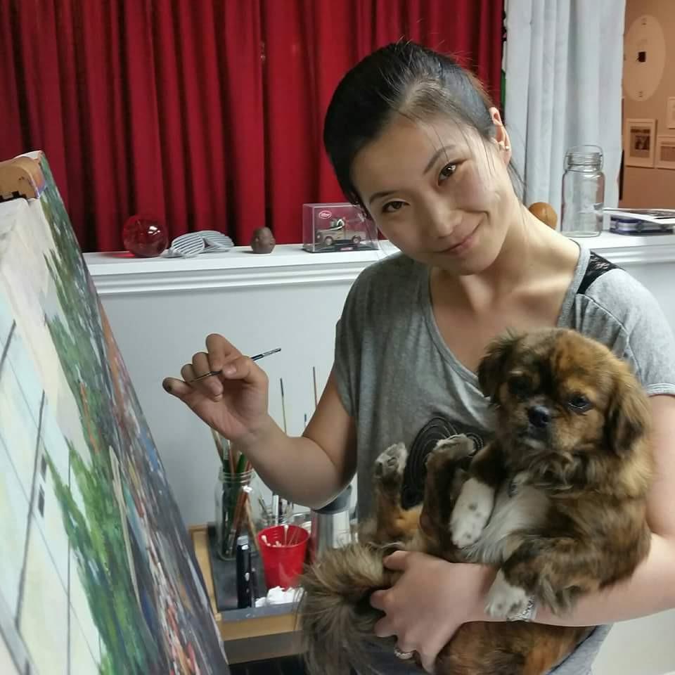 Pongo and her human, Artist Fei Lu