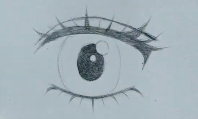 How to draw female anime eyes in Pencil - Step 10: Colour in the Pupil