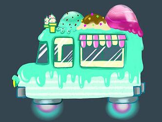 Digital Art futuristic ice cream truck