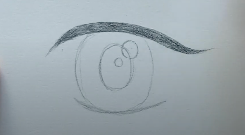 How to draw female anime eyes in Pencil - Step 5: Thicken the Lash line