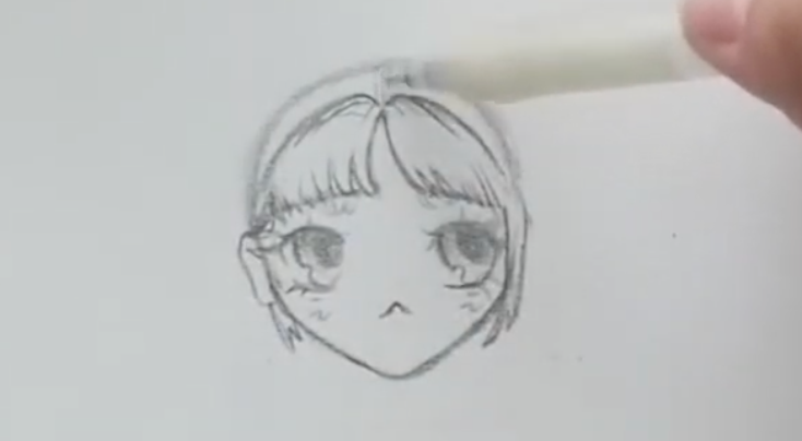 anime girl with detailed bangs and face framing hairs