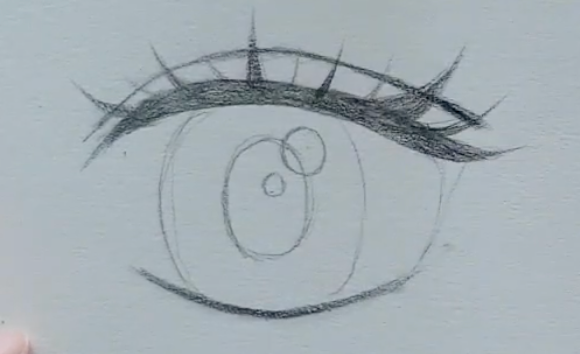 How to draw female anime eyes in Pencil - Step 8: Adding a triangle