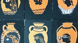 A painting of ancient Greek vases made at A World of Art Camp