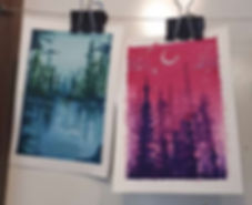 Student artwork of simple watercolour landscapes