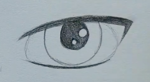 How to draw a male anime eye in pencil - step 7 - colour in the pupil