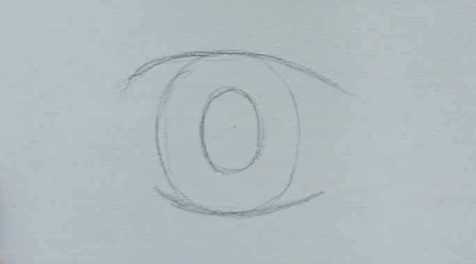 How to draw female anime eyes in Pencil - Step 3: Drawing the Pupil
