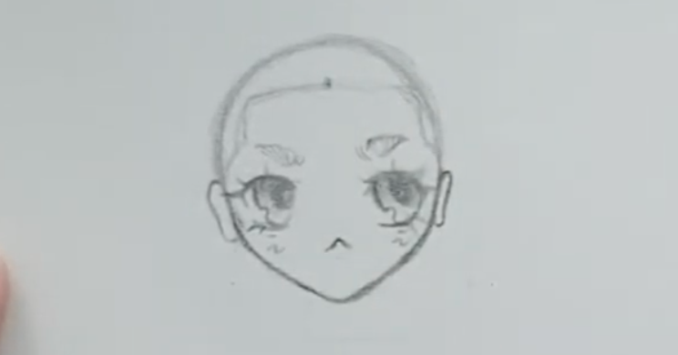 bald anime girl with dot on hairline