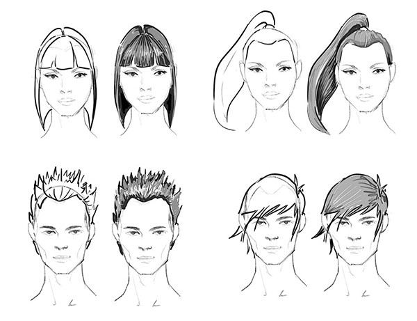 examples of how to draw different hairstyles