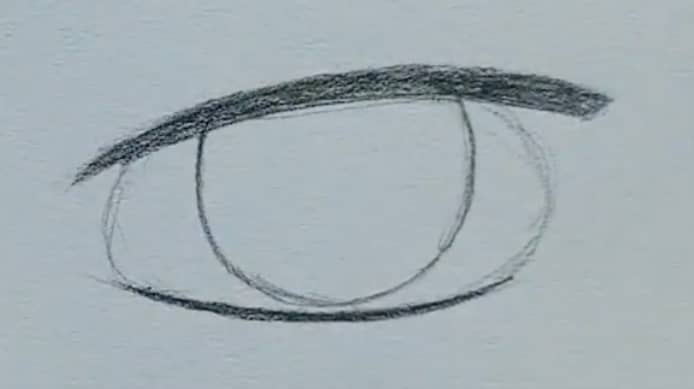 How to draw a male anime eye in pencil - step 4: lash line