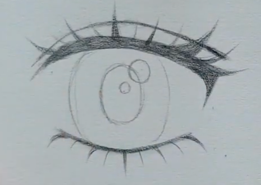 How to draw female anime eyes in Pencil - Step 9: Corners of the eye