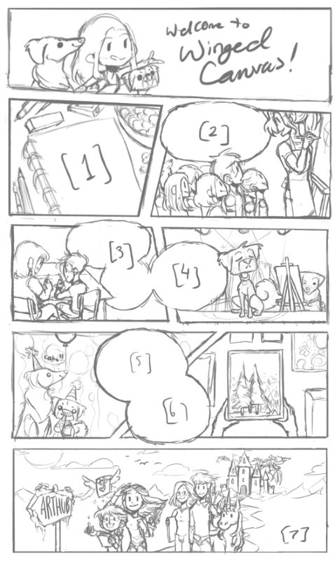 sketch of welcome to winged canvas comic by Jessie Chang