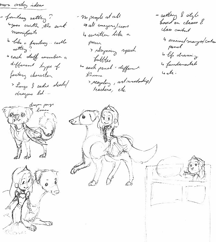 ideas and sketches for the comic by Jessie Chang