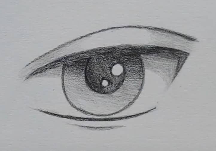 How to draw a male anime eye in pencil - step 13: adding an eyelid (optional)