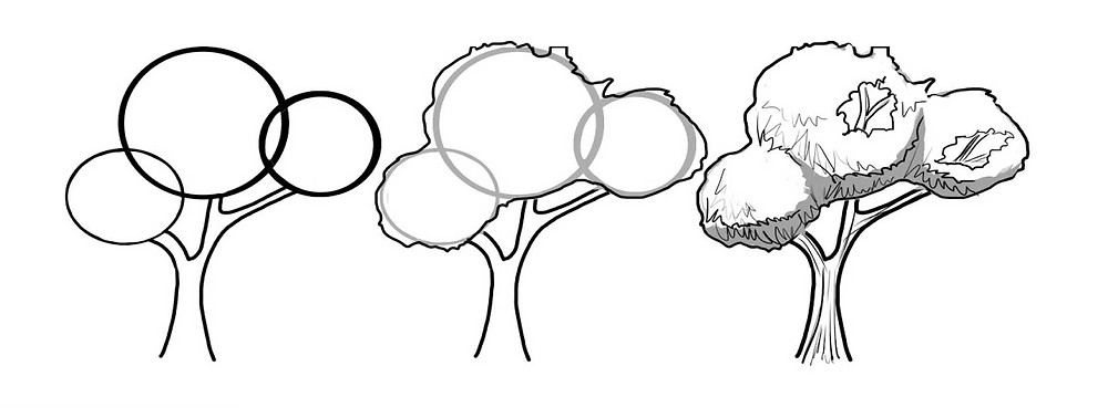 image showing how to draw trees using circles