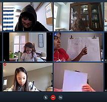 Students in online art class