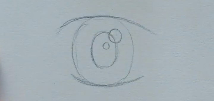 How to draw female anime eyes in Pencil - Step 4: Sketching Reflections