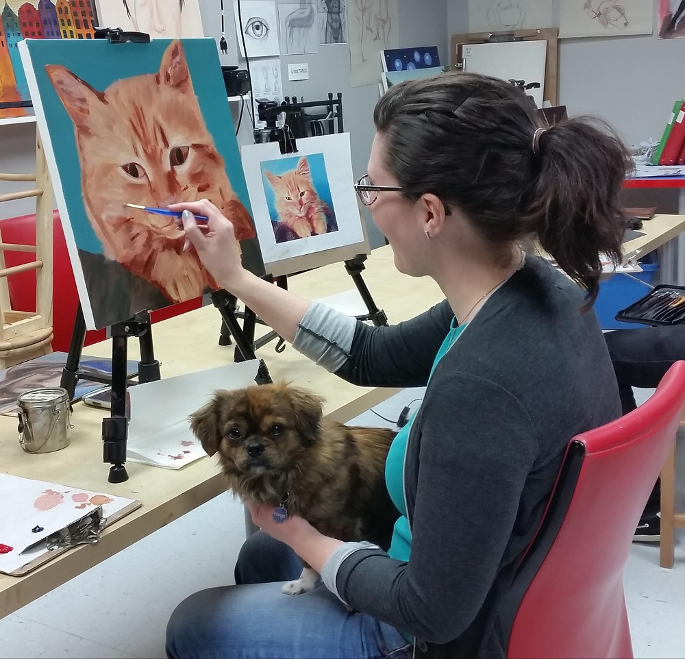 Dog muse for a cat painting