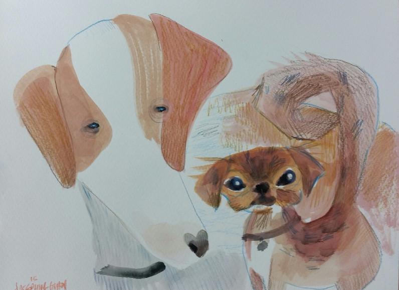 Pet caricature by Josephine Guan