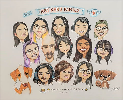 Winged Canvas Staff Caricature drawn by Fei Lu