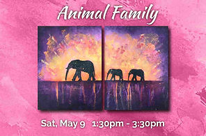 Easy Animal Family Landscape - Mom & Baby Elephants