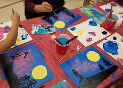 elementary-kids-painting-landscape-in-sc