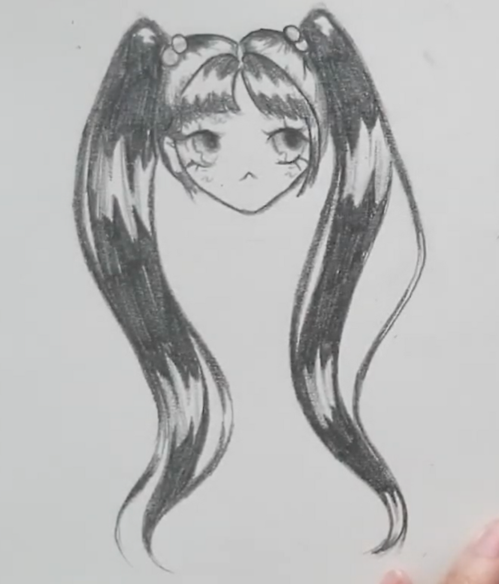 Anime girl with pigtails
