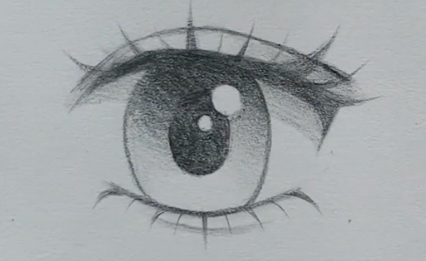 How to draw female anime eyes in Pencil: completed demo