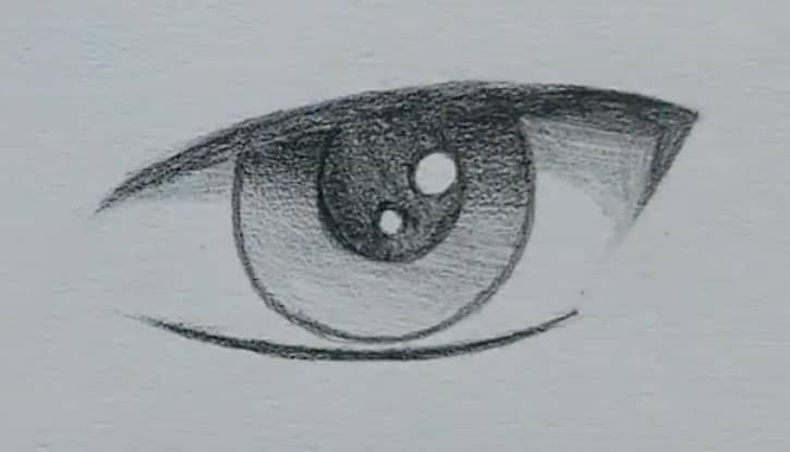 How to draw a male anime eye in pencil - step 10 - add shading on the eye ball