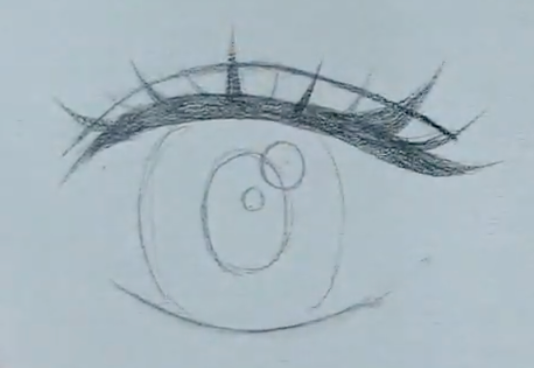 How to draw female anime eyes in Pencil - Step 7: Adding an eyelid
