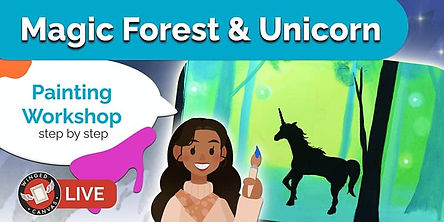 Painted forest scene with unicorn silhouette