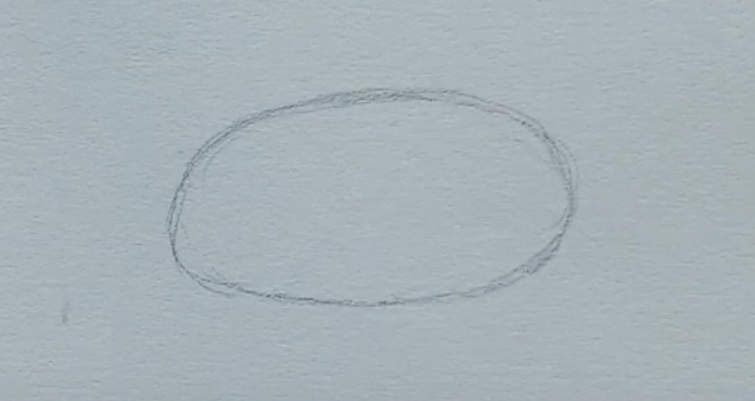How to draw a male anime eye in pencil - step 1: oval