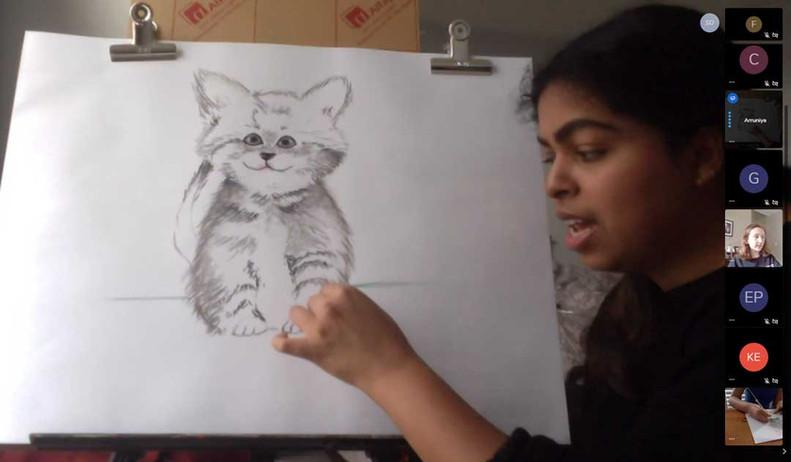 Virtual demo of cat drawing
