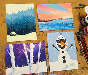 Four colourful painting created at a PA Day Painting Camp