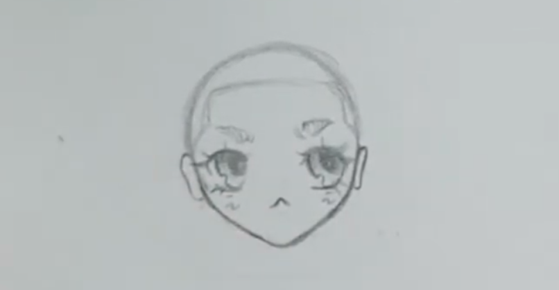 Bald anime girl with hairline drawn