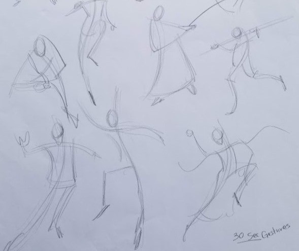 A full sheet of 30 second gesture drawings.
