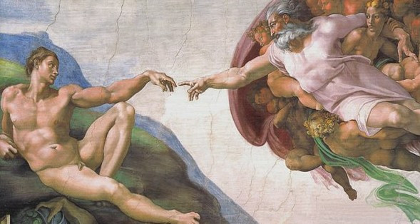 View of The Creation of Adam by Michelangelo