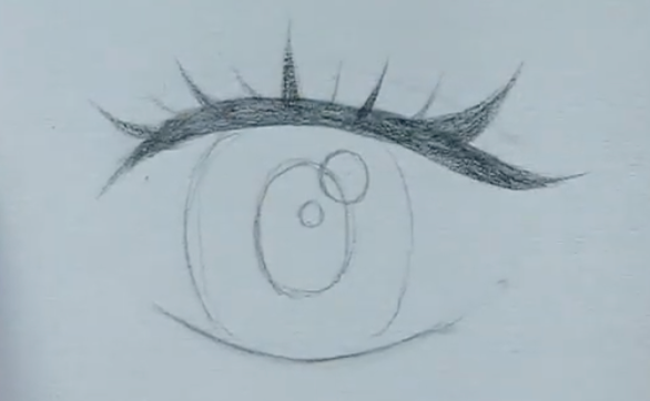 How to draw female anime eyes in Pencil - Step 6: Drawing Eyelashes