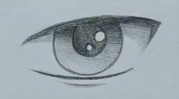 How to draw a male anime eye in pencil - step 11 - adding a bottom crease