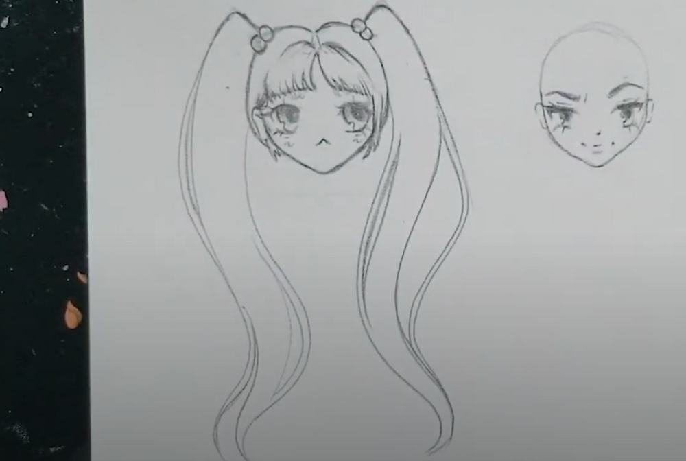 anime girl with bangs and pigtails