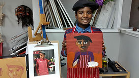 Acrylic painting self portrait