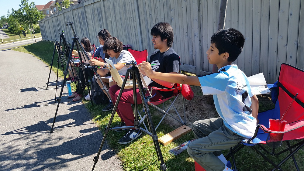 Outdoor Painting at Winged Canvas Summer Art Camp