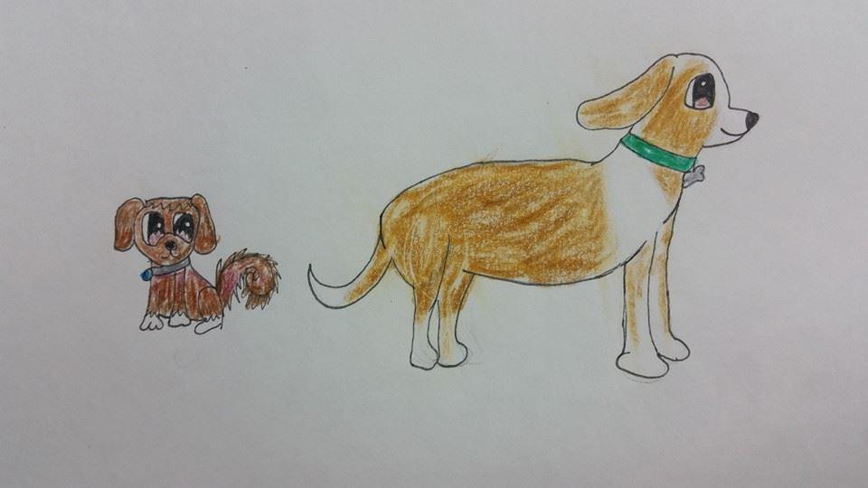 Pongo and Sadie Winged Canvas Studio Dogs