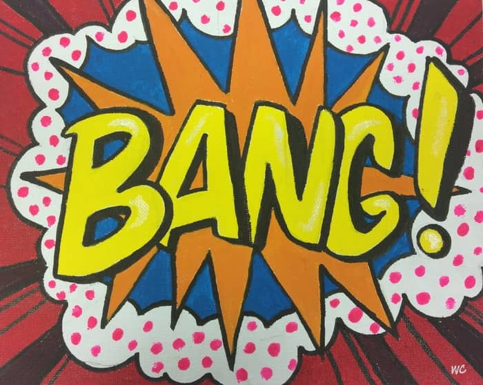 pop art style painting of the word Bang!