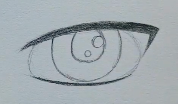 How to draw a male anime eye in pencil - step 6 - pupils and highlights