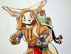 cartoon drawing of furry animal character with potions