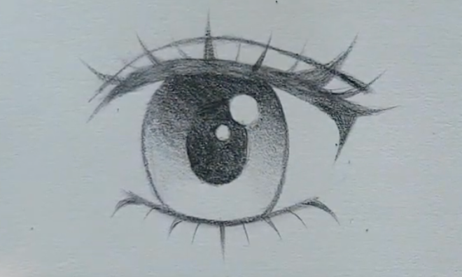 How to draw female anime eyes in Pencil - Step 11: Shading with Gradients