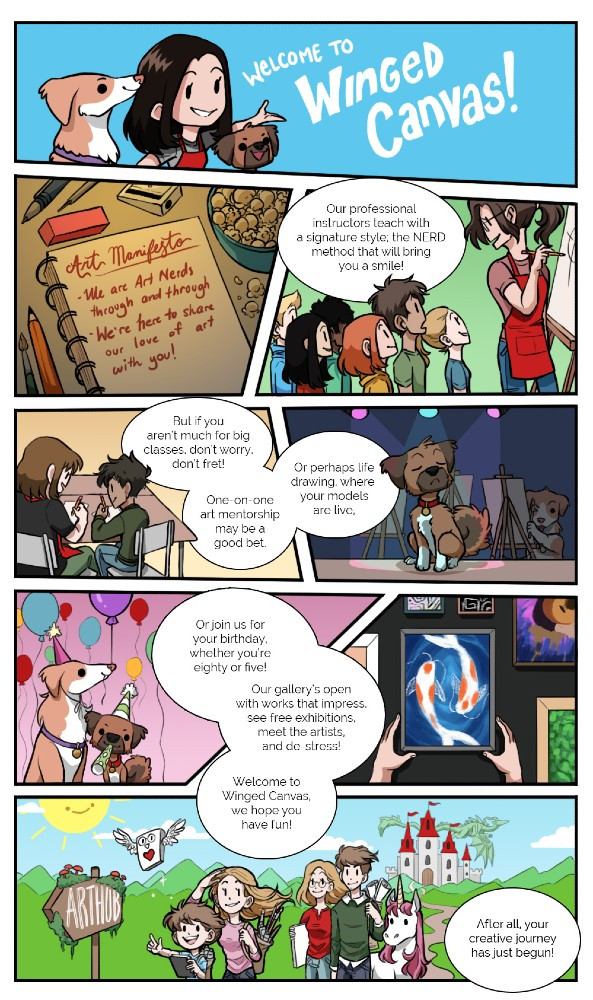 final welcome to Winged Canvas comic strip by Jessie Chang