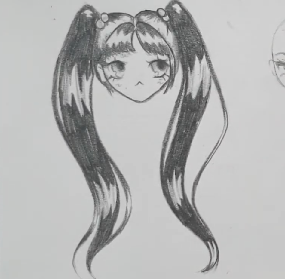 anime girl with shaded bangs and pigtails