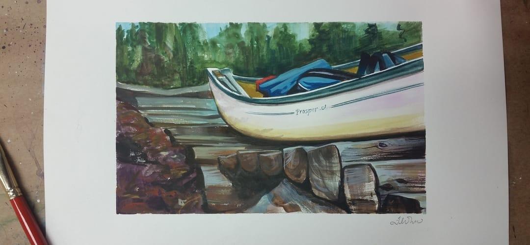 Gouache Painting, Canoe
