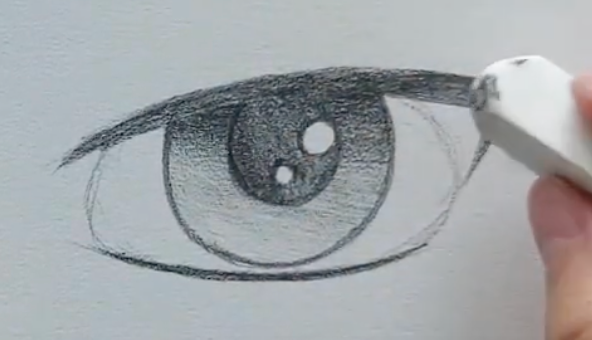 How to draw a male anime eye in pencil - step 9 - erase guidelines